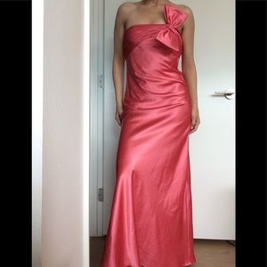 Adrianna Papell Coral Strapless gown with bow
